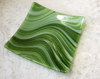 Fused Glass Plate, Emerald Green White Glass Plate, Green White Art Glass Decorative Tray - 084