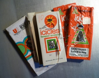 Vintage Lot of 5 Packages Plastic Icicles