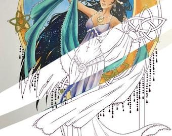 Luna: April's Digital Coloring Page