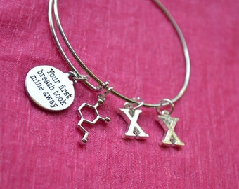 Biolojewelry - Gender Reveal - XX Chromosome Dopamine Neurotransmitter Molecule Your First Breath Bangle Brackelet
