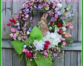 Cherry Blossom Easter Bunny Wreath, Spring Iris tulip pink purple wreath, green burlap