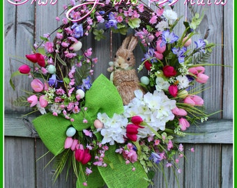 Cherry Blossom Easter Bunny Wreath, Spring Iris tulip pink purple wreath, green burlap