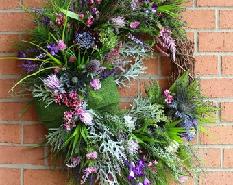 MADE TO ORDER Scottish Thistle & Heather Coastal Wreath, Everyday Swag, Highland Scotland Coastal, Summer Swag, Purple lavender summer