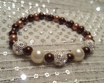 Stunning Rhinestone Glamour Stretchy Bracelet with Chocolate and Latte Pearls