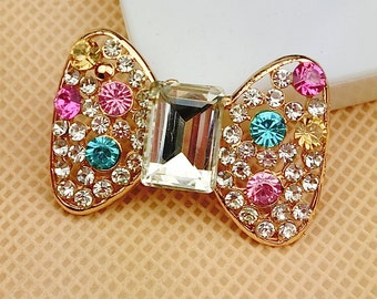 1pcs New Crystal Rhinestones Bowknot Charm flatback Alloy Jewelry accessories