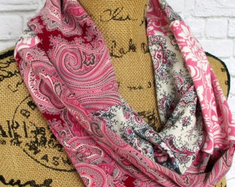Infinity Scarf - Bohemian Clothing - Gifts Under 30 - Womens Scarf - Gift for Her - Valentine's Day Gift Ideas - Pink Scarf