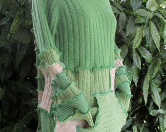 Upcycled Clothing - Upcycled Sweater - Recycled Sweater - Cotton Sweater - Vegan Clothing - Hippie Sweater - Hooded Sweater - Green