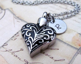 Personalized Heart Urn Pendant Necklace, Hand Stamped Cremation Memorial Heart Stainless Steel Urn Necklace