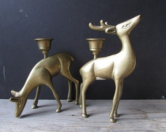 Pair of Brass Deer Candleholders Vintage Brass Reindeer
