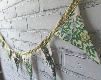Fabric Garland Vintage Tea Towels Green and Blue