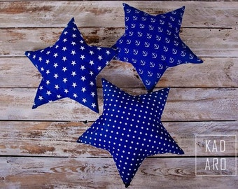Star shaped pillow, star pillow, nautical styled, marine, nursery decoration, anchors