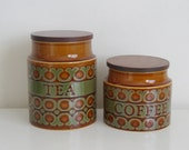 Reserved Hornsea Bronte canister set tea and coffee jars, kitchen storage / decor 1970s retro England