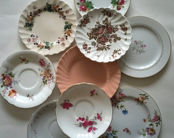Mismatched Plates / Vintage Peach & Pink China Plates for Plate Wall Hanging, or Serving at Showers, Tea Parties, Luncheons, etc.