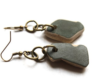 Scottish green beach pottery earrings bohemian jewelry statement jewellery sea china mermaid tears