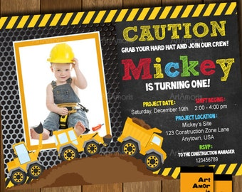 Construction Invitation, Construction Birthday Invitation, Construction Party, Construction Birthday, Boys Construction, Dump Truck R-17