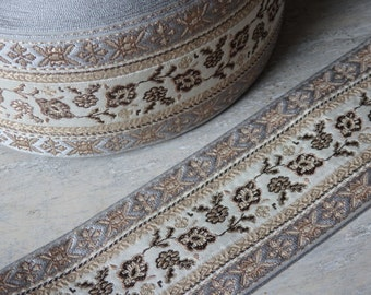 "Wide sari border in elegant silver gray, gold beige and brown - ONE yard, luxury sari border, 64mm / 2.5"" wide silver and gold sari border"
