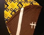 Football Shaped Minky Blanket with University of Michigan