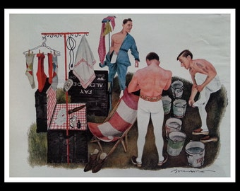 Catchers & Leapers.  Story and Illustrations Bill Ballentine of Trapeze Artists. True Mag 1960s.  Ready for Framing.
