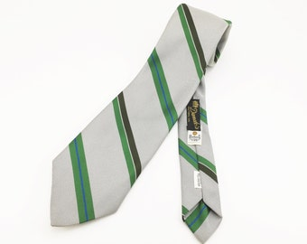 1970s Mod Silver Necktie Men's Vintage Wide Disco Era Polyester Tie with Green Diagonal Stripes by Botany Suitable Ties