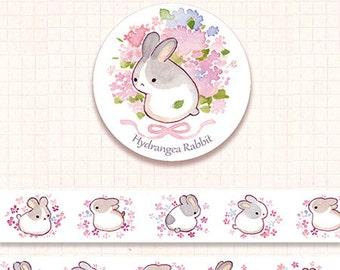 1 Roll Limited Edition Washi Tape: Hydrangea Rabbit