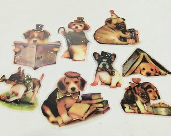 A Pack of 32 pcs 8 Designs Stickers Seal: My Dog loves to Read