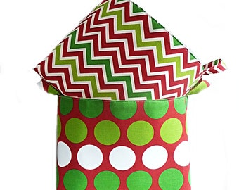 Holiday Gift Basket, Storage Basket, Christmas Gift Basket, Large Dot and Chevron, Red or Green, 2 Color Options