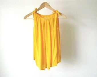 vintage YELLOW soft faded bunched TANK TOP cover up summer top