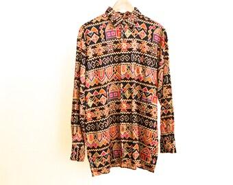 vintage 90s SOUTHWEST ikat NAVAJO bright crop top LONG sleeve boxy shirt