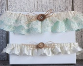 Ivory lace and aqua satin wedding garter set/Aqua and ivory satin garter/Rustic ivory lace garter/Vintage garter/Aqua & ivory bridal garter