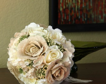 Reserved for Terry, Burlap Bridal Bouquet & 8 Bridesmaid Bouquets, Wedding Bouquet, Fabric Bouquet, Beige Ivory Cream Flowers, Ready to Ship