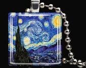 15% OFF AUGUST SALE : Starry Night Vincent Van Gogh Art Glass Tile Pendant Necklace Keyring