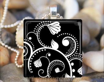 DAMASK FLOWERS Black and White Floral Scrollwork Art Glass Tile Pendant Necklace Keyring