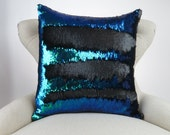 Mermaid Pillow- Deep Blue/Purple/Green Black Reversible Sequin Cushion Throw Pillow Cover, lumbar, euro, big sizes available! Color Changing