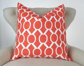Tangerine Orange Pillow Cover -MANY SIZES- Tangelo Sydney geometric white cushion cover throw sham Premier Prints decorator FREESHIP