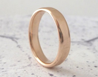 Rose Gold Wedding Band - Hand Shaped Slim Court Wedding Band - Contemporary wedding band - 9ct Rose Gold Wedding Band