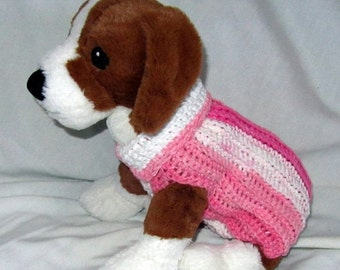 Small Cotton Crocheted/Knit Dog Sweater - Pinky Stripes n white