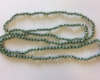 "Beaded knotted necklace, 3-4mm rondelle crystal beads, around 36"", 1 necklace, mint"