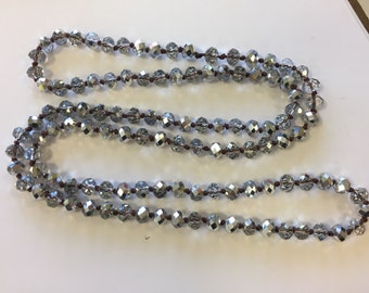 """8mm rondelle crystal knotted necklace , around 35"""", 1 pc,"""