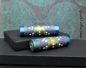 Satin Finish Sapphire Blue Green Paper Tube Bead - Moroccan Style Boho Hippie Paper Tube Bead - Pkg. 2