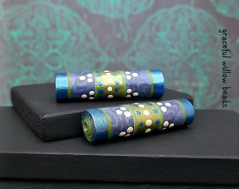 Satin Finish Sapphire Blue Green Paper Tube Bead - Moroccan Style Boho Hippie Paper Tube Bead - Pkg. 2