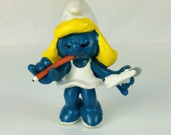 Vintage Smurfs Secretary Smurfette Figurine Schleich Peyo Lot 1981 Hong Kong