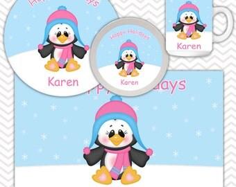Penguin Girl Plate, Bowl Mug Set - Personalized Penguin Plate Set - Customized Plate, Bowl, Mug - Melamine Plate, Bowl & Set for Kids
