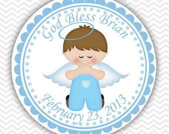 Kneeling Angel Boy Baptism Christening First Holy Communion - Personalized Stickers, Party Favor Tags, Thank You Tags, Gift Tags