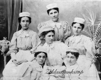 "Victorian nurses snapshot 4 by 6"" print on parchment paper"