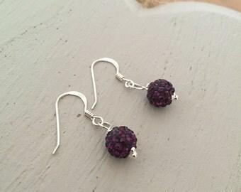 Drop Earrings - Sterling Silver, Purple Earrings, Drop Earrings, Purple Jewellery, Dangle Earrings, Dainty Earrings, Bead Drop, Disco Ball