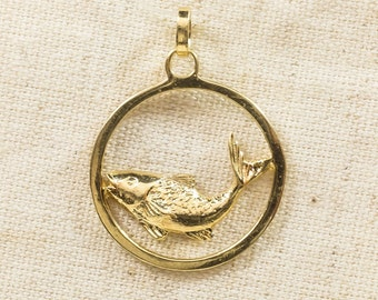 14K Yellow Gold Rustic Outdoors Fishing Open Circle Full Bodied Detailed Polished Trout Fish Circle Pendant Charm - 2.7 grams FREE SHIPPING!