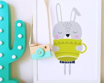 Nursery wall art, Nursery print, nursery decor, Kids room art print, kids room decor, Bunny