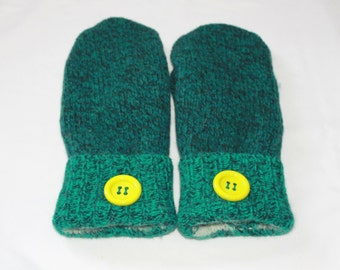Wool Felted Mittens - Upcycled Wool Mittens  - Sweater Mittens - Green -   Womens/Teens -  Size Medium