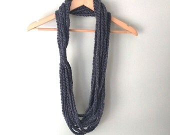 Gray Scarf Necklace . Long . Gray Chain Scarf . Dark Gray Scarf . Gray Infinity Scarf . Circle Scarf . Crochet Chain Scarf . Crochet Scarf