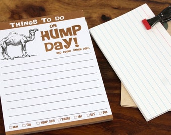 Hump Day Camel Funny Paper Notepad, Wednesday Pad Gag Novelty Gift Idea Stocking Stuffer Office Work Desk Memo Sheets Pad Cute Decorative